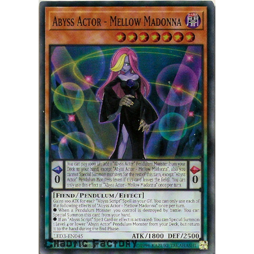 Yugioh LED3-EN045 Abyss Actor - Mellow Madonna Super Rare 1st Edition NM
