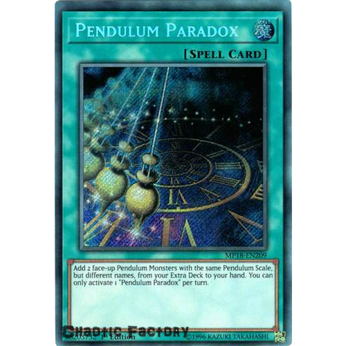 Yugioh MP18-EN209 Pendulum Paradox Secret Rare 1st Edition NM